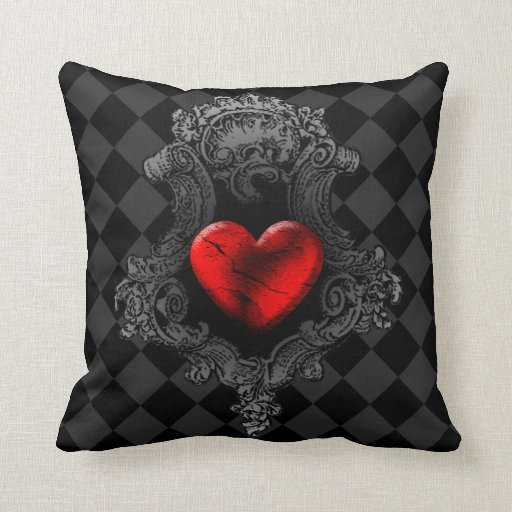 Red Heart Decorative Pillow : Red Goth Heart Throw Pillow Zazzle