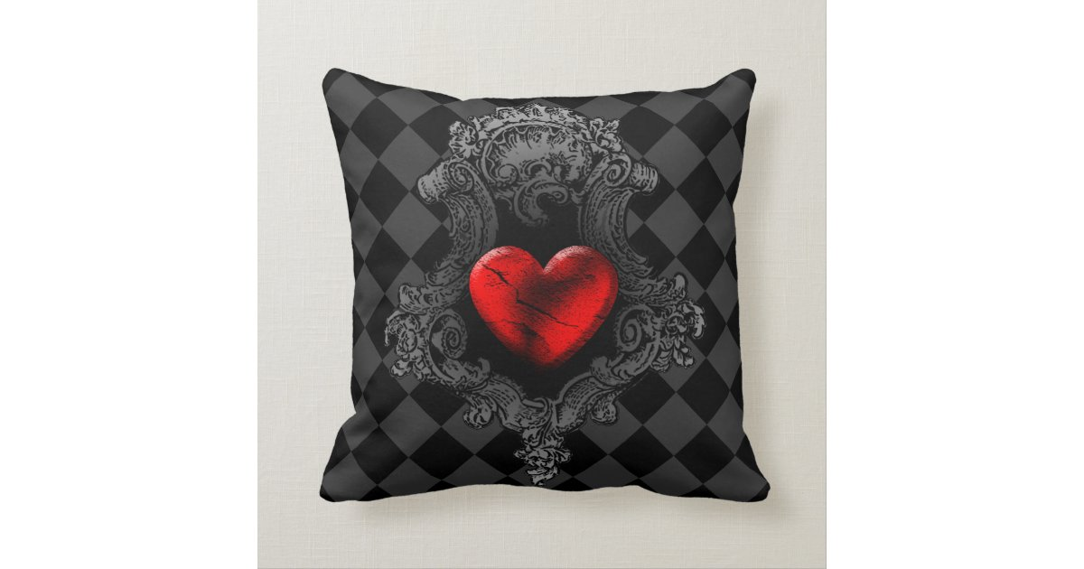 Red Goth Heart Throw Pillow Zazzle