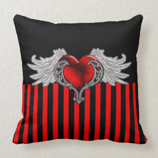 Red Goth Heart with Angel Wings Throw Pillow