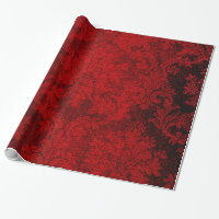 Red Goth Victorian Damask Vintage Wallpaper Wrapping Paper