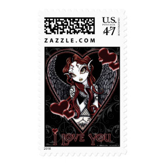 Red Gothic Angel Valentine's day Stamps
