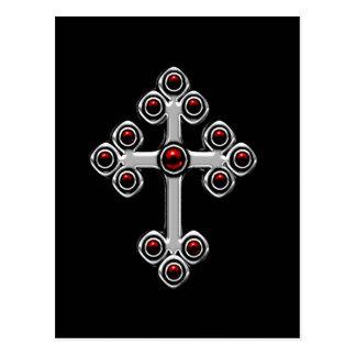 Red Gothic Cross fantasy postcard