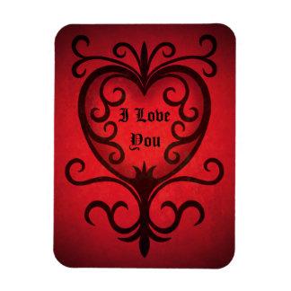 Red gothic elegant damask dark red heart magnet