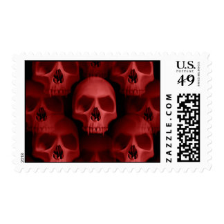 Red gothic fanged skull Halloween horror Stamps