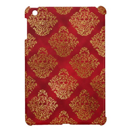 Red Gothic Gold Foil Damask Case For The iPad Mini