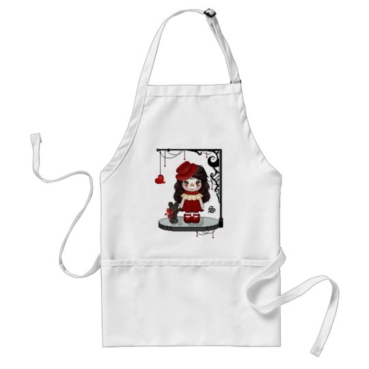 Red Gothic Love Doll Pixel Art Adult Apron