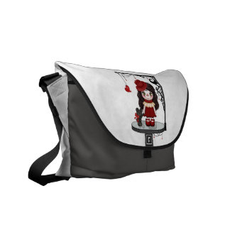 Red Gothic Love Doll Pixel Art Courier Bag