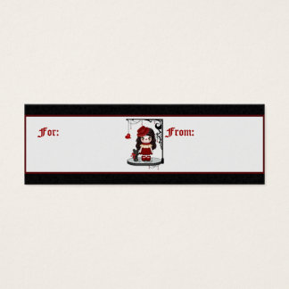Red Gothic Love Doll Pixel Art Mini Business Card