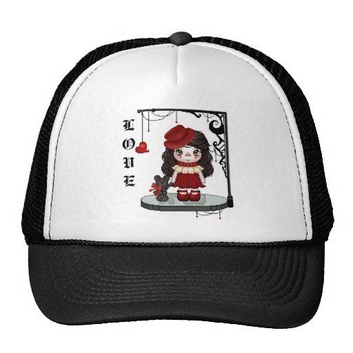 Red Gothic Love Doll Pixel Art Trucker Hat