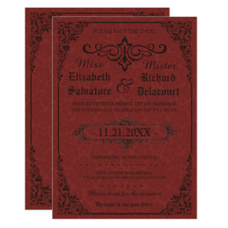 Red Gothic Victorian Damask Save the Dates Card