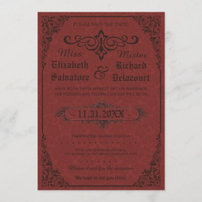Red Gothic Victorian Damask Save the Dates Save The Date