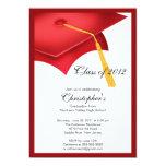 Red Grad Cap Graduation Party Invitation