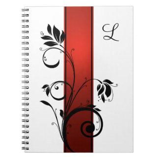 Red Gradient Black Floral Swirls Guest Book Spiral Notebook