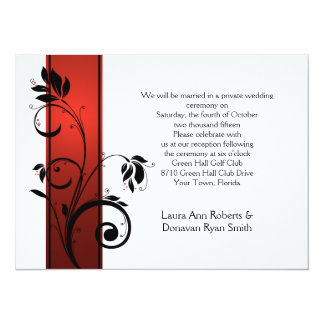 Red Gradient Black Floral Swirls Reception Only Card
