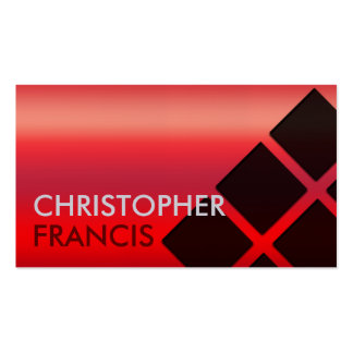 Red gradient card with square pattern business card