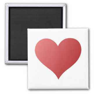Red Gradient Love Heart 2 Inch Square Magnet