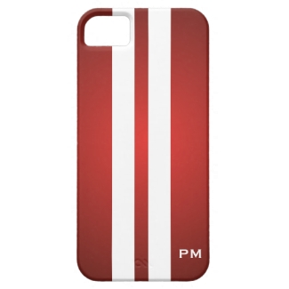 Red Gradient with White Racing Stripes Initials