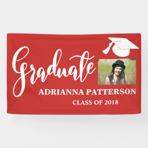 Red Graduate Hat Handwritten Graduate Photo Banner