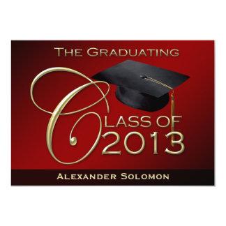 "Red Graduating Class of 2013 5"" X 7"" Invitation Card"
