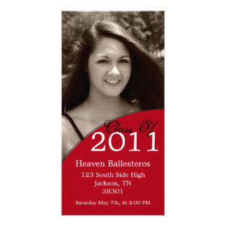 Red Graduation 2011 Photo Card Invites