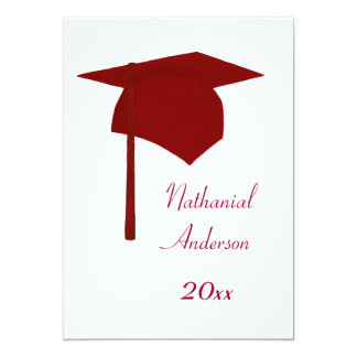 Red Graduation Cap and Tassel Invitations