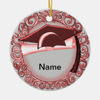 Red Graduation Cap ceramic round ornament
