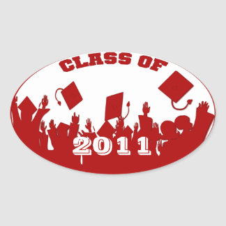 Red Graduation Class of Current Year Oval Stickers