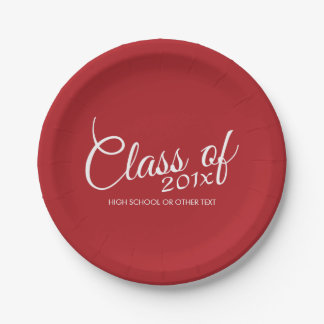 Red Graduation Class of Custom Year and Text 7 Inch Paper Plate