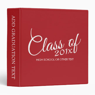 Red Graduation Class of Custom Year and Text Vinyl Binder