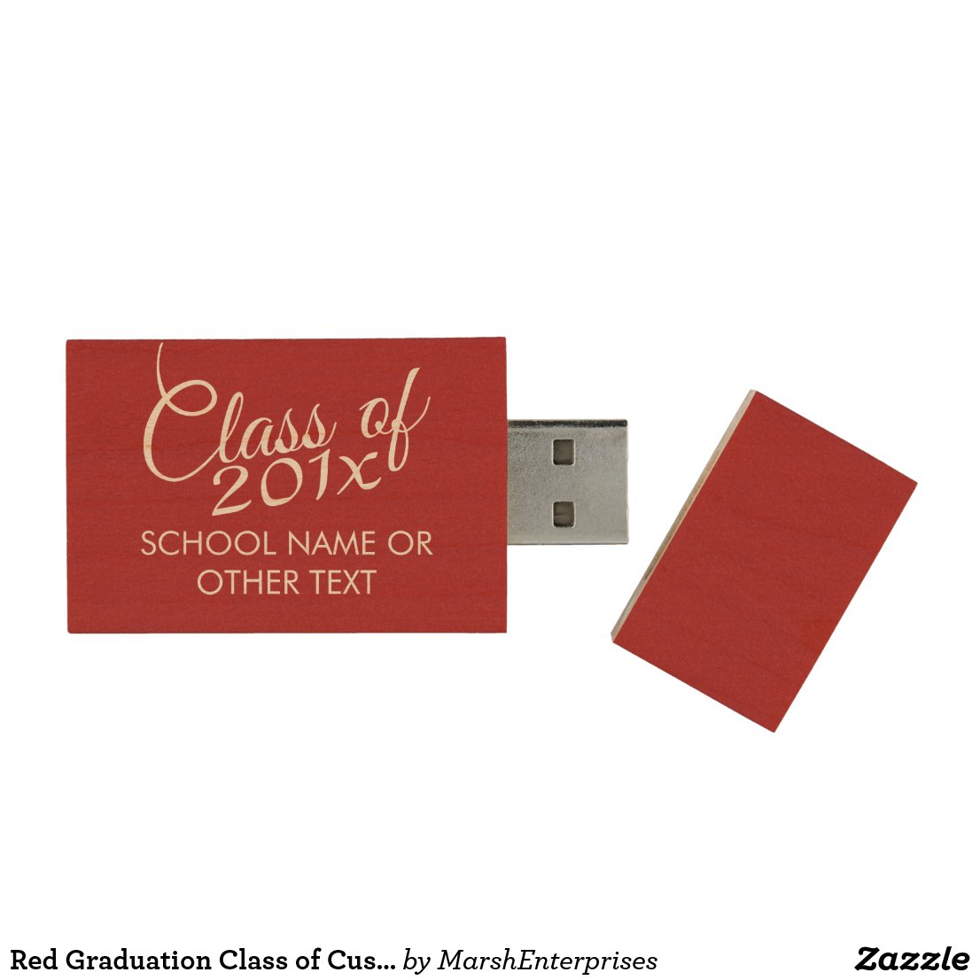 Red Graduation Class of Custom Year and Text Wood USB Flash Drive