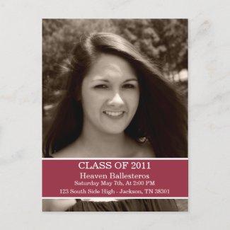 Red Graduation Class Of Post card Invitation postcard
