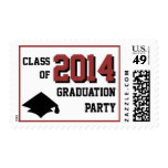 Red Graduation Party Postage Stamps