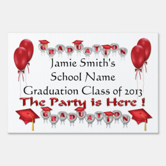 Red Graduation Party Yard Sign