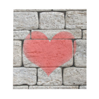 Red Graffiti Heart on Stone Wall Notepad
