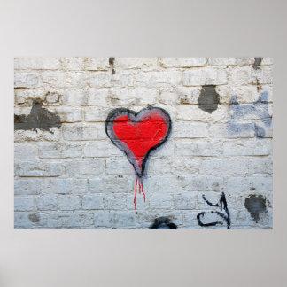 Red graffiti heart poster