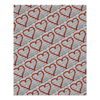 Red Graffiti Hearts Scrapbook Paper