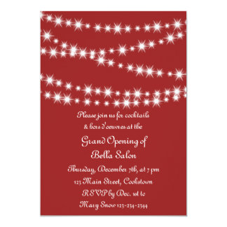Red Grand Opening Twinkle Lights Card
