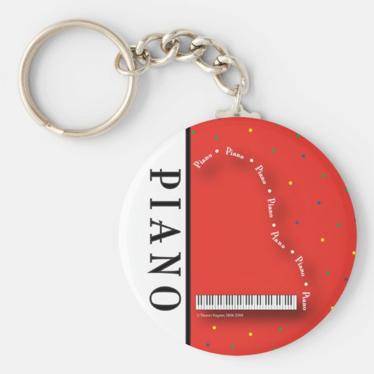 Red Grand Piano Keychain