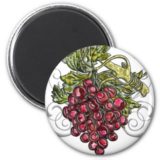 Red Grapes 2 Inch Round Magnet