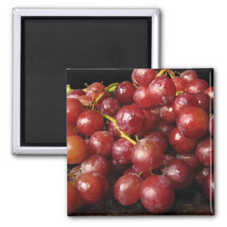 Red Grapes 2 Inch Square Magnet