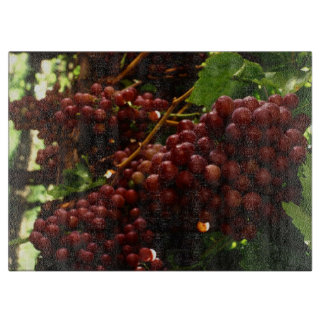 Red Grapes On Grape Vine Cutting Board