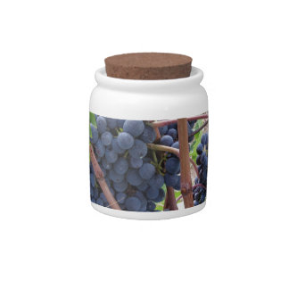 Red grapes on the vine with green leaves candy dish