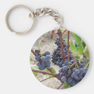 Red grapes on the vine with green leaves keychain