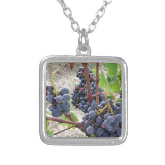 Red grapes on the vine with green leaves square pendant necklace