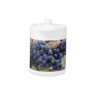 Red grapes on the vine with green leaves teapot