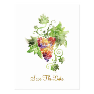 Red Grapes Watercolor Save The Date Postcard