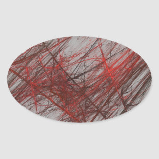 Red Gray Abstract Fractal Oval Sticker