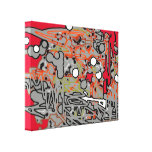 red & gray abstraction art stretched canvas print