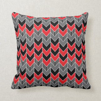 Red, Gray and Black Arrow Pattern Throw Pillow