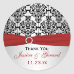 Red, Gray, and Black Damask Wedding Favor Sticker